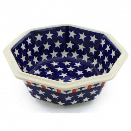 "Polish Pottery Octagonal Bowl - 7"" - Americana"