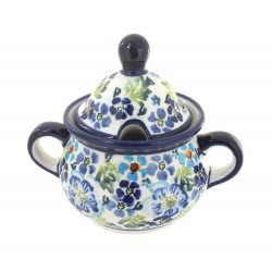 Polish Pottery Sugar Bowl Blue Flower with Green Leaves