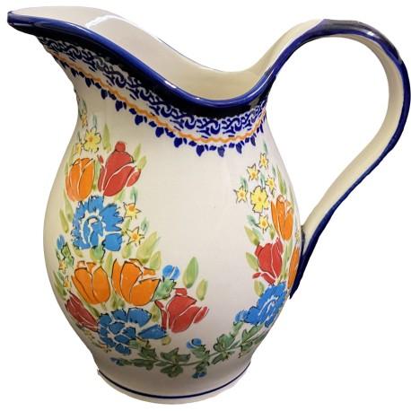 Polish Pottery Pitcher - 64 oz - Orange Roses - Unikat