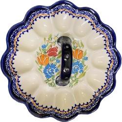 Polish Pottery Egg Plate with Handle - Orange Roses - Unikat