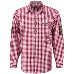 German Traditional Men's Fest Shirt Red/Burgundy