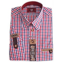 German Traditional Men's Fest Shirt Red/Blue