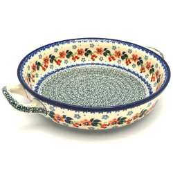 """Polish Pottery Round Baker with Handles - 10"""" - Cherry Blossom"""