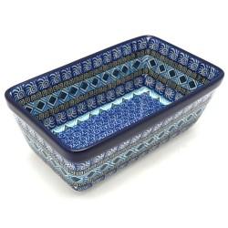 "Polish Pottery Loaf Baker - 8"" - Blue Aztec"