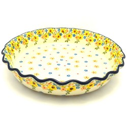 """Polish Pottery Fluted Pie Baker - 10"""" - Buttercup"""