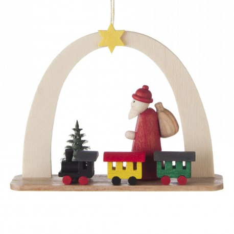 Santa with Train Arch Wooden Ornament Made in Germany