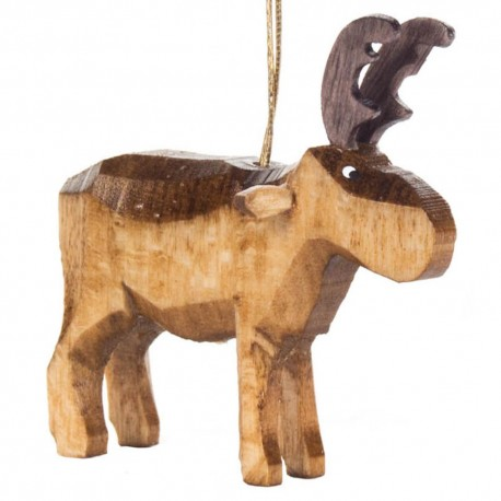 Moose or Reindeer Wooden Ornament Made in Germany