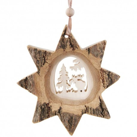 Bark Star Moose Wooden Ornament
