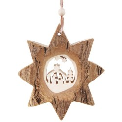 Bark Star Nativity Wooden Ornament