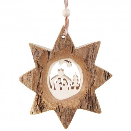 Bark Star Nativity Wooden Ornament Made in Germany
