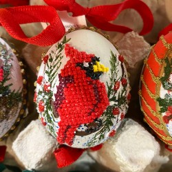 Eggshell Ornament Cross-stitched Cardinal