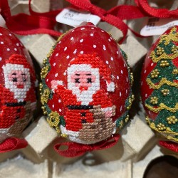 Eggshell Ornament Cross-stitched Santa