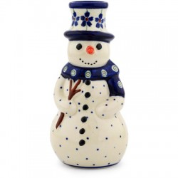 Polish Pottery Snowman Candleholder Floral Peacock