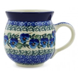 Polish Pottery Bubble Mug - 12 oz - Blue Pansies