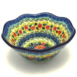 "Polish Pottery Wavy Bowl - 8"" - Splendid Meadow - Unikat"