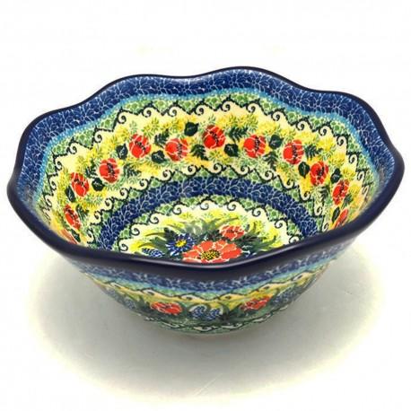 "Polish Pottery Wavy Bowl - 8"" - Splendid Meadow - Unikat"