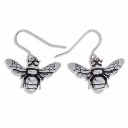 Pewter Bee Drop Earrings Handmade in England