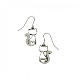 Pewter Cat Heart Drop Earrings Handmade in England