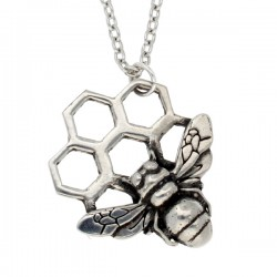 Pewter Bee Honeycomb Necklace Handmade in England