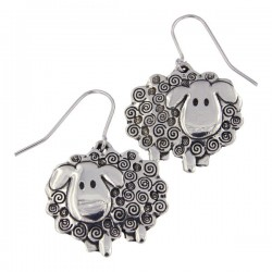Pewter Sheep Drop Earrings Handmade in England