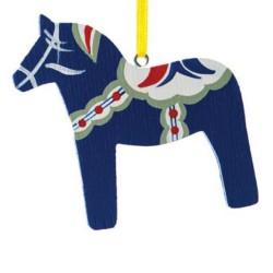 Swedish Blue Dala Horse Wooden Christmas Ornament