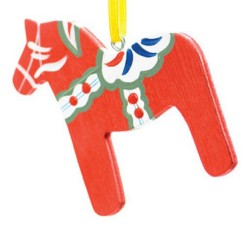 Swedish Red Dala Horse Wooden Christmas Ornament