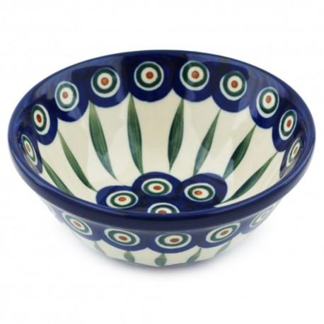 "Polish Pottery Bowl - 5.5"" - Peacock"