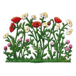 Poppies and Daisies Stand-up Pewter Decoration Made in Germany