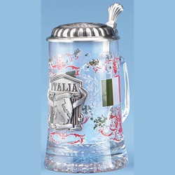 Glass Italy Stein with Pewter Lid