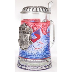 Glass Czech Stein with Pewter Lid