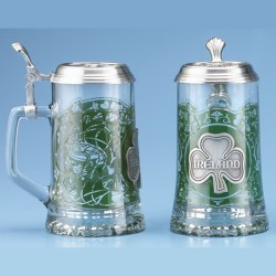 Glass Ireland Stein with Pewter Lid
