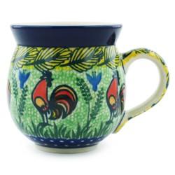 Polish Pottery Bubble Mug - 12 oz - Unikat with Rooster