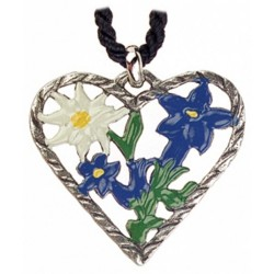 Heart with Edelweiss Pewter Pendant Made in Germany