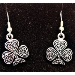 Shamrock Celtic Knot Drop Earrings Made in the USA