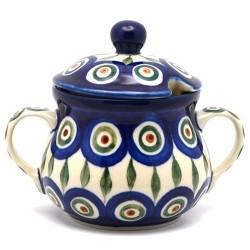 Polish Pottery Sugar Bowl with Lid - Peacock