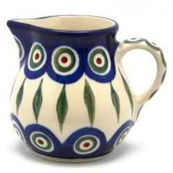 Polish Pottery Cream Pitcher - Peacock