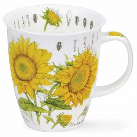 Fine Bone China Mug - Floral Sketch Sunflower