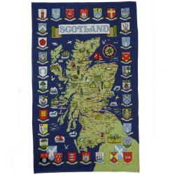 Scotland Town Crests Map Tea Towel