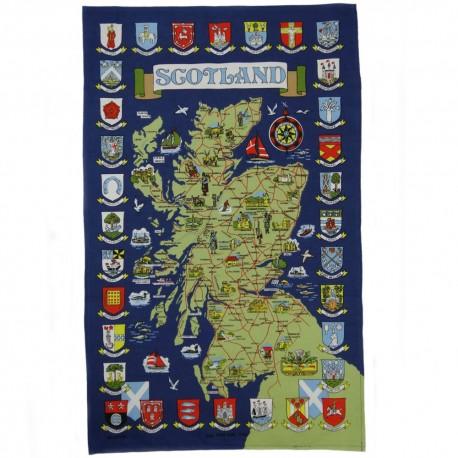 Scotland Town Crests Map Tea Towel