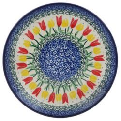"Polish Pottery Plate - 8"" - Tulip Garden"