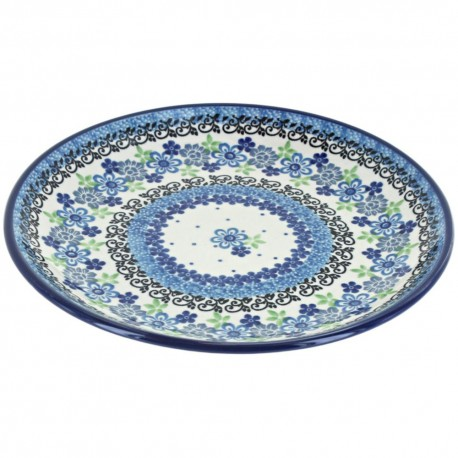 "Polish Pottery Plate - 8"" - Denim Daisy"