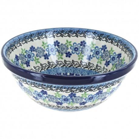"Polish Pottery Bowl - 6.5"" - Denim Daisy"