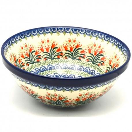 "Polish Pottery Bowl - 9"" - Crimson Bells"