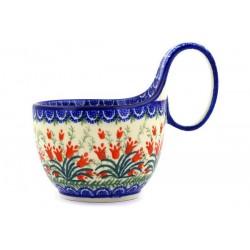 "Polish Pottery Bowl - 4"" with Handle - Crimson Bells"