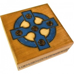 Polish Wooden Box Brass Inlay with Blue Celtic Cross