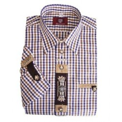German Traditional Men's Shirt Brown/Purple